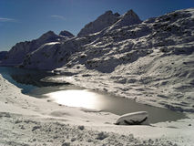 Mountain Lake. Winter view of backlight Lake on a glacier in Austria 2009 Royalty Free Stock Photos