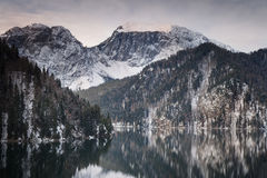 Mountain lake against the backdrop of snow-capped mountains Royalty Free Stock Photo