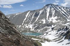 Mountain lake Akchan, mount Colban, Altai Republic. Turquoise mountain lake, lake in the mountains, green water, pure mountain lake, snow-capped mountains Stock Photos