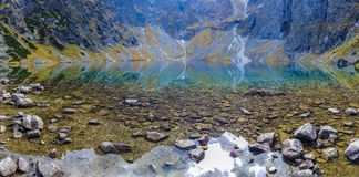 Mountain lake - amazing panoramic view Stock Photo