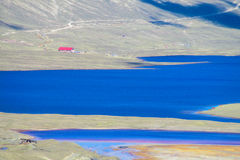 Mountain lake in Andes stock photography