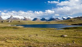 Mountain lake. Arabel valley, Kyrgyzstan Royalty Free Stock Photos