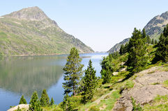 Mountain lake, Ariege, France. Lake Naguille in Pyrenees at summer Royalty Free Stock Photos