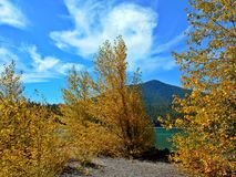 Mountain Lake in Autumn. Fall colors at Cultus Lake - central Oregon - Cultus Mountain in the background royalty free stock photo