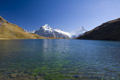 Mountain lake Bachalpsee near Grindelwald Royalty Free Stock Images
