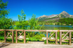 Mountain lake on background of green trees. Beautiful view of the mountain lake on a background of green trees and blue sky from the mountain trial Royalty Free Stock Photography