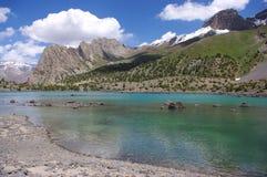 Mountain lake in background with high mountain. Tajikistan Royalty Free Stock Photo