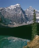 Mountain Lake Banff Alberta Canada. Valley of the ten peaks and Moraine Lake at dusk. 6x7 drum scan Royalty Free Stock Photo