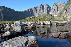 Mountain lake in the Barguzin Ridge in Lake Baikal Royalty Free Stock Photos