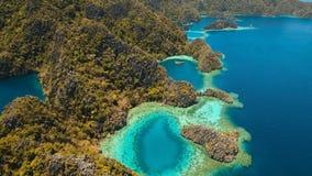 Mountain lake Barracuda on a tropical island, Philippines, Coron, Palawan. Stock Photos