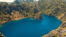 Mountain lake Barracuda on a tropical island, Philippines, Coron, Palawan. Stock Images