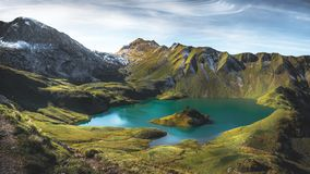 Mountain lake in the bavarian alps stock images