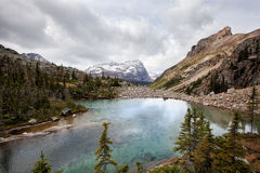 Mountain lake. A beautiful mountain lake,bartier lake, at yoho,canada ,background is snow mountain Royalty Free Stock Photos