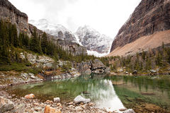 Mountain lake. A beautiful mountain lake,bartier lake, at yoho,canada ,background is snow mountain Stock Image