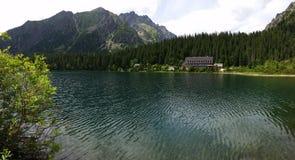 Mountain lake below the peaks Stock Images