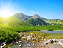 Mountain lake Biele pleso in National Park High Tatra. Royalty Free Stock Photography