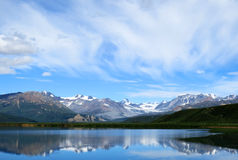 Mountain lake blue sky. At alaska Stock Image