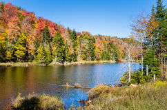 Mountain Lake and Blue Sky in Autumn Stock Image