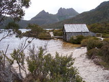 Mountain lake boatshed royalty free stock images