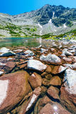 Mountain lake in Bulgaria stock photo