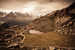 Mountain lake. Chamonix valley Stock Images