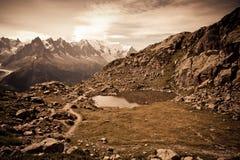 Mountain lake. Chamonix valley Stock Images