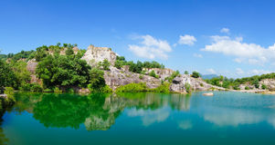 Mountain lake in Chau Doc town Royalty Free Stock Image
