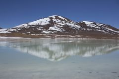 A mountain and lake in chilean Highlands of Atacama Royalty Free Stock Photos