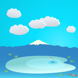 Mountain and lake at the cloudy sky, vector illustration Stock Photos