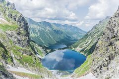 Mountain, lake and cloudy sky in Tatra National Park royalty free stock photos