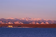 Mountain and lake in Colorado. At sunrise Royalty Free Stock Photo