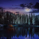 Mountain lake in coniferous forest at night Stock Photo