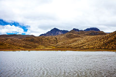 Mountain and lake in the Cotopaxi National Park Royalty Free Stock Images