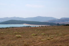 Mountain lake. The lake in Crimean mountains at hot summer midday Stock Image