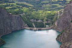 Mountain lake dam Stock Photo