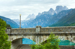 Mountain lake dam view Stock Images