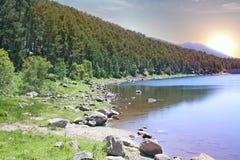 Mountain lake at dawn Stock Image