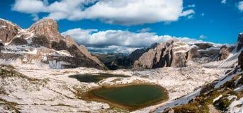 Mountain lake in Dolomites Alps Royalty Free Stock Photos