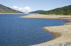 Mountain lake during drought Stock Photo