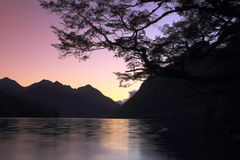 Mountain lake at dusk Royalty Free Stock Image