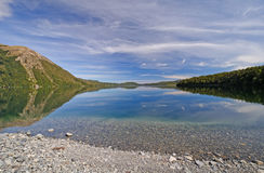 Mountain Lake with Early Morning Clouds Stock Image