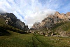 Mountain lake entrance. Entrance to the mountain lake named Kel-Suu in Naryn region, Kyrgyzstan Stock Photos