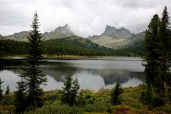 Mountain lake in Ergaki. The lake Svetloe in the natural Park `Ergaki` in the mountain range of the Western Sayan August afternoon Royalty Free Stock Image