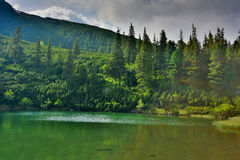 Mountain lake on evening Royalty Free Stock Photography