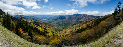 Mountain Lake in Fall Along the Blue Ridge Parkway Panorama Royalty Free Stock Photography