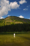 Mountain Lake Fisherman Stock Photo