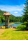 Mountain lake among the forest in National Park Synevir, Ukraine Stock Photo
