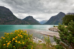 Mountain lake at Geirangerfjord area (Norway) Royalty Free Stock Photography