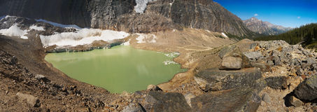 Mountain Lake and Glacier. Scenic nature landscape panorama. Mountain lake and glacier. Canadian wilderness royalty free stock photography
