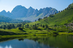 Mountain lake. Lake Gornje bare at Zelengora mountain range, Sutjeska National Park Stock Photography